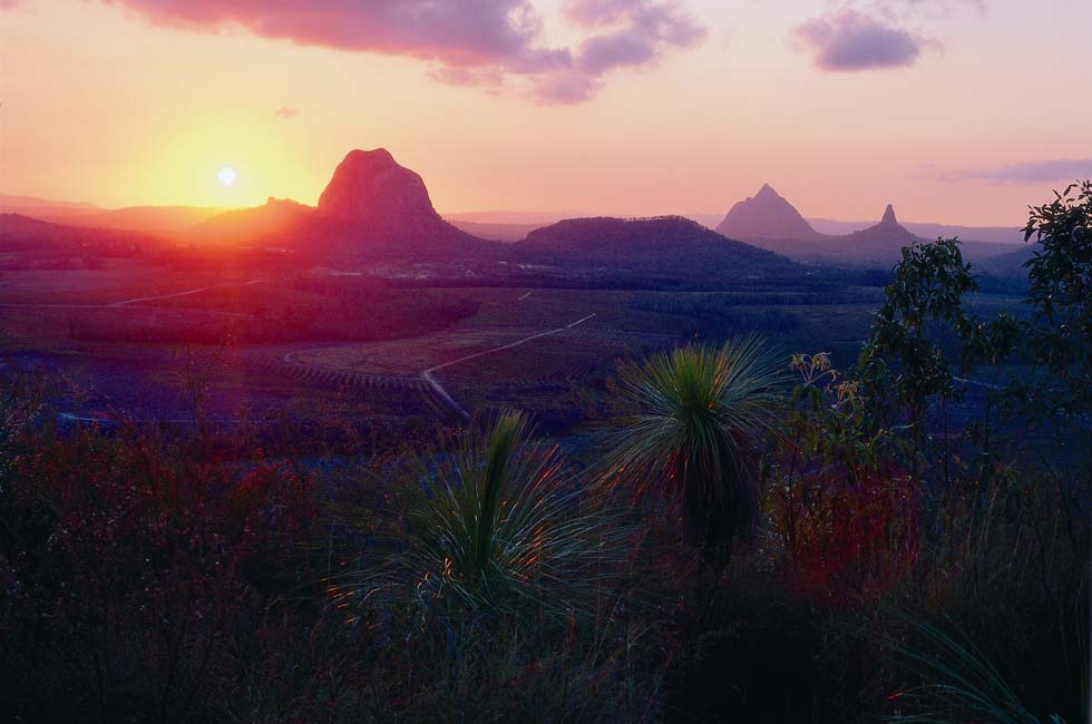 Sunset over Glasshouse Mountains - Montville, QLD